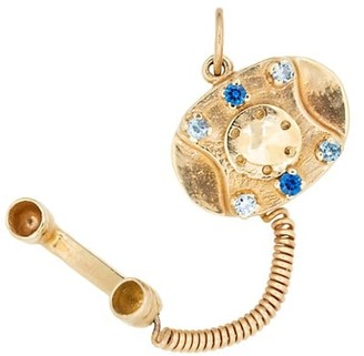 Stephanie Windsor Vintage 14K Yellow Gold & Sapphire Rotary Phone Charm