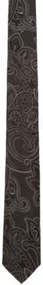Etro Black Jacquard Paisley Tie