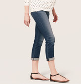 LOFT Maternity Straight Cuffed Cropped Jeans in Lagoon Blue Wash