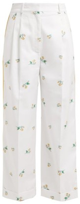 Racil Agadir Floral-embroidered Striped Trousers - Womens - White Multi