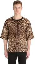 Dolce & Gabbana Leopard Printed Linen T-Shirt
