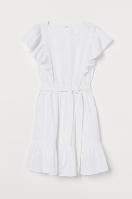 H&M Flounce-trimmed Dress - White