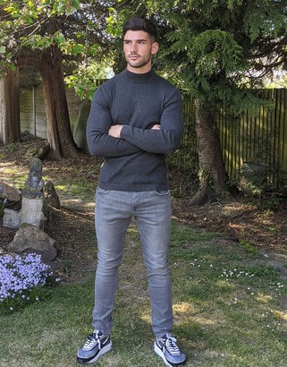 Esprit ribbed muscle fit roll neck jumper in grey