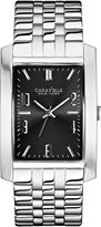 JCPenney CARAVELLE, NEW YORK Caravelle New York Mens Gray Rectangle Dial with Silver-Tone Watch 43A118