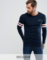 Illusive London Muscle Long Sleeve T-shirt In Blue With Stripes