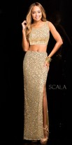 Scala Scooped Back Sequin Two Piece Prom Dress