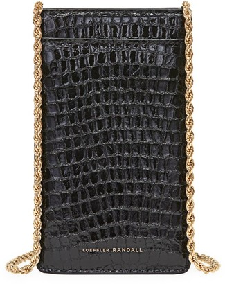 Loeffler Randall Augusta Croc-Embossed Leather Crossbody Phone Pouch