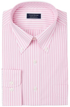 Club Room Men's Classic/Regular-Fit Performance Stretch Candy Stripe Dress Shirt, Created for Macy's