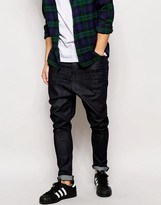 Asos Drop Crotch Jeans In Coated Indigo