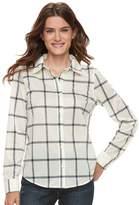 Caribbean Joe Women's Plaid Button Front Shirt