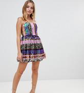Asos DESIGN Petite bandeau stripe sequin prom dress