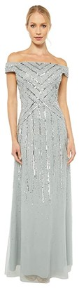 Adrianna Papell Off-the-Shoulder Beaded Gown (Frosted Sage) Women's Dress