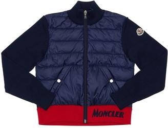 Moncler Cotton Knit & Nylon Down Jacket