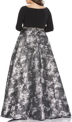 Mac Duggal Plus Size Long-Sleeve Jersey Bodice Metallic A-Line Gown