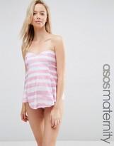 Asos Sweetheart Pretty Stripe Tankini Bikini Top