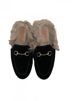 Gucci Princetown Black Velvet Flats