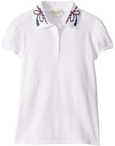 Gucci Kids GG Piquet Short Sleeve Polo (Little Kids/Big Kids) (White/Multicolor) Girl's Clothing