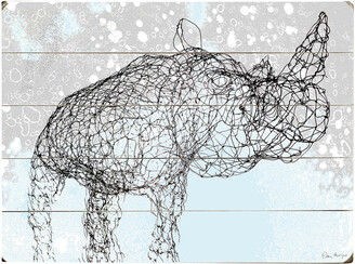 One Bella Casa Wired Rhino Planked Wood Wall Decor By Peter Horjus