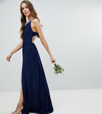 TFNC Tall Tall Embellished Back Detail Maxi Bridesmaid Dress-Navy