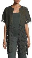 Elie Tahari Gregoria Floral-Cutout Linen Coat