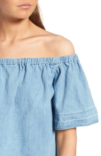 AG Jeans Women's Sylvia Cotton Chambray Off The Shoulder Top
