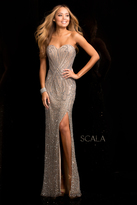 Scala 48673 Sweetheart Sequin Prom Dress with Side Slit
