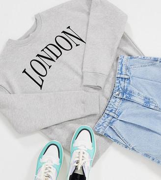 Topshop Petite London sweatshirt in grey marl
