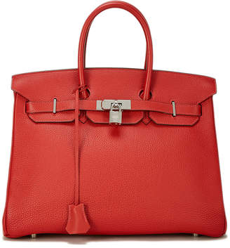 Hermes Birkin 35 Vermillion Togo Satchel Bag