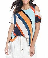 Bobeau Stripe Print Cold-Shoulder Knit Top