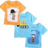 Monvecle Baby Unisex 3 Pack Cotton Short Sleeve Crewneck T-Shirts Infant Boys Girls Cartoon Tops 12-18 Months
