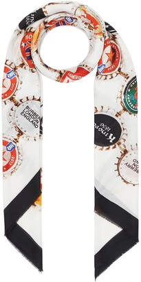 Burberry Bottle Cap Print Cotton Silk Large Square Scarf