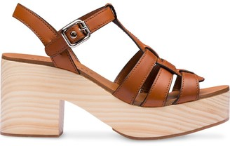 Miu Miu Wooden Sole 80mm Platform Sandals