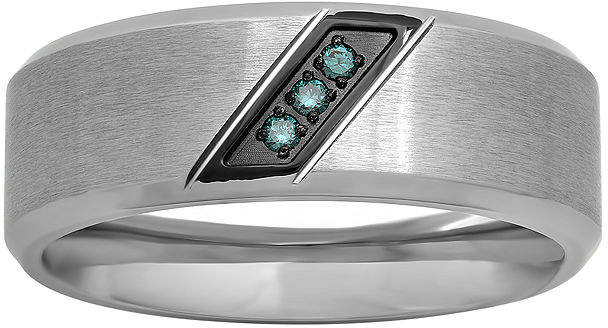 JCPenney MODERN BRIDE Mens Color-Enhanced Blue Diamond-Accent Stainless Steel Wedding Band