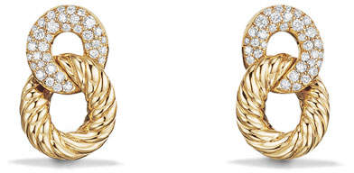 David Yurman 16.5mm Belmont Link Earrings with Diamonds in 18K Yellow Gold