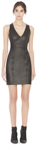 Alice + Olivia Dex Chain Leather Vneck Fitted Dress