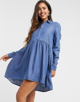 Vero Moda denim smock shirt dress in blue