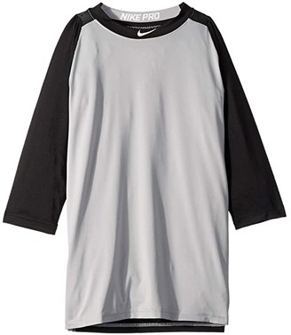 Nike Pro 3/4 Sleeve Baseball Top (Little Kids/Big Kids) (Black/Wolf Grey) Boy's Clothing