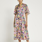 Thumbnail for your product : River Island Womens Purple floral tie neck midi dress