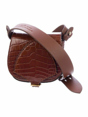 Burberry Alligator Micro Bridle Crossbody Bag w/ Tags Brown