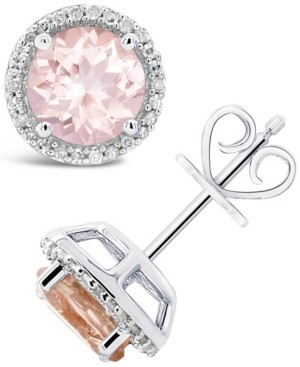 Macy's Morganite (2-1/2 ct. t.w.) and Diamond (1/6 ct. t.w.) Stud Earrings in Sterling Silver