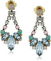 "Sorrelli Washed Pastels"" Navette and Round Crystal Adornment Post Drop Earrings"