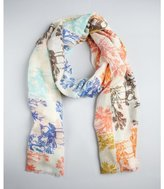 MIR coral and blue toile squares cashmere-silk scarf