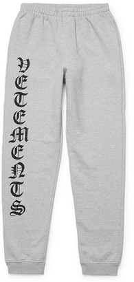 Vetements Gothic Logo Drawstring Sweatpants Grey