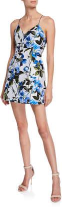 Alice + Olivia Tayla Structured Floral-Print Lantern Mini Dress