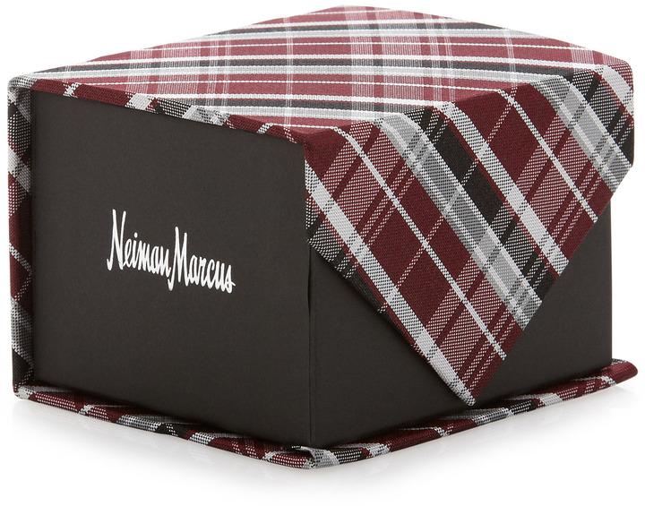 Neiman Marcus Plaid Silk Tie, Burgundy