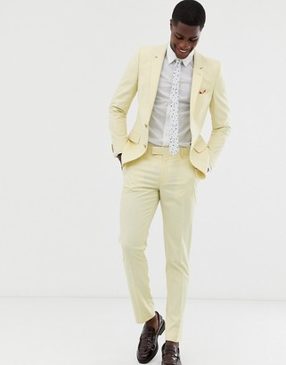 ASOS DESIGN wedding skinny suit pants in yellow
