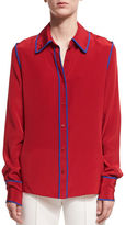 Diane von Furstenberg Long-Sleeve Button-Front Collared Silk Blouse
