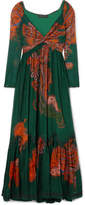 Etro Printed Cotton And Silk-blend Maxi Dress - Emerald