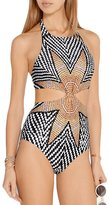 DEPERO Womens Tropical Tribal Starbasket Knot Front Padded One Piece Swimsuits