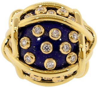 Verdura 18kt yellow gold diamond Polka Dot ring